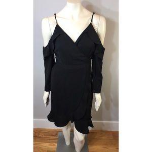 Little Black Cold Shoulder Wrap Dress W/ Ruffles